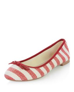 Red Stripe Ballet Pumps  | New Look