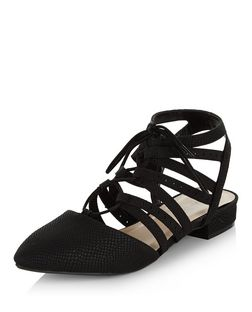 Black Multi Strap Pointed Ghillie Pumps  | New Look