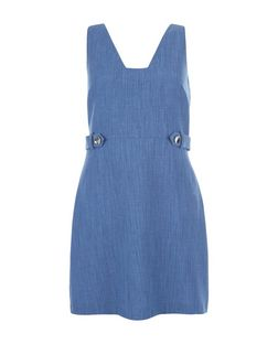Light Blue Tab Side Pinafore Dress  | New Look