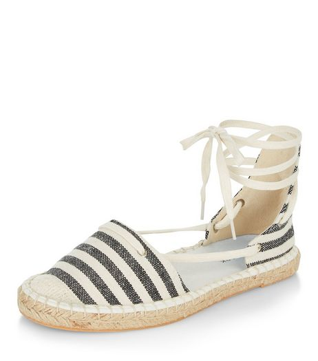Black Canvas Stripe Lace Up Espadrilles | New Look