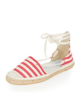 Red Canvas Stripe Lace Up Espadrilles | New Look