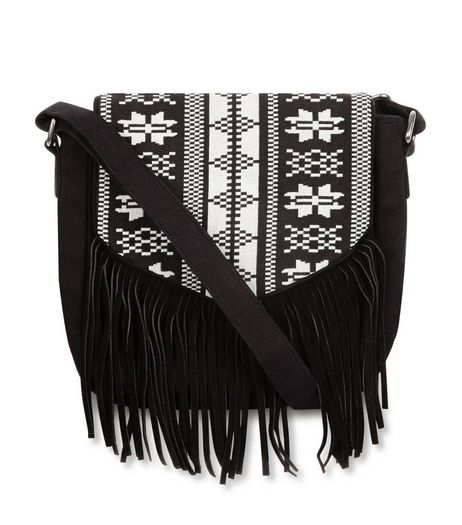 Black Aztec Print Fringed Across Body Bag | New Look