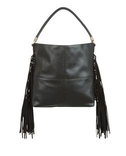 Black Knotted Fringe Side Shoulder Bag  | New Look