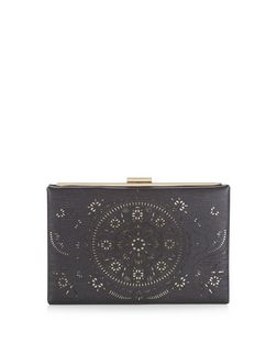 Black Laser Cut Out Clutch | New Look