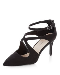 Wide Fit Black Suedette Swirl Strap Pointed Heels  | New Look