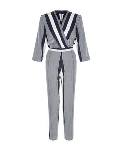 Innocence Navy Stripe Wrap Front Jumpsuit | New Look
