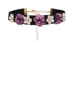 Black Velvet Flower Choker  | New Look