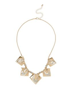 Silver and Gold Pentagon Necklace | New Look