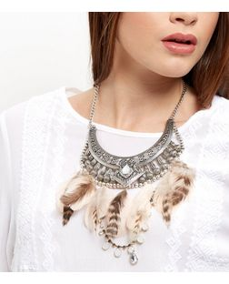 Black Feather Stone Bib Necklace | New Look