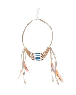 Multicoloured Suede Beaded Feather Necklace | New Look