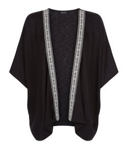 Black Fine Knit Tape Trim Kimono  | New Look