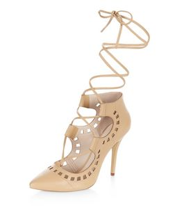 Stone Laser Cut Out Ghillie Heels  | New Look