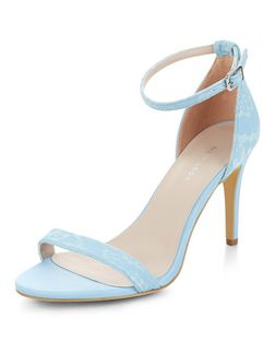 Blue Lace Ankle Strap Heels | New Look