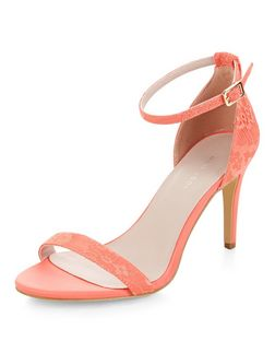 Coral Lace Ankle Strap Heels | New Look