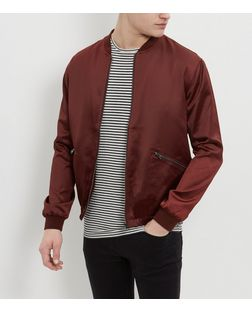Burgundy Sateen Bomber Jacket  | New Look