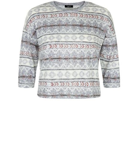 Teens Blue Aztec Print Fine Knit Jumper  | New Look