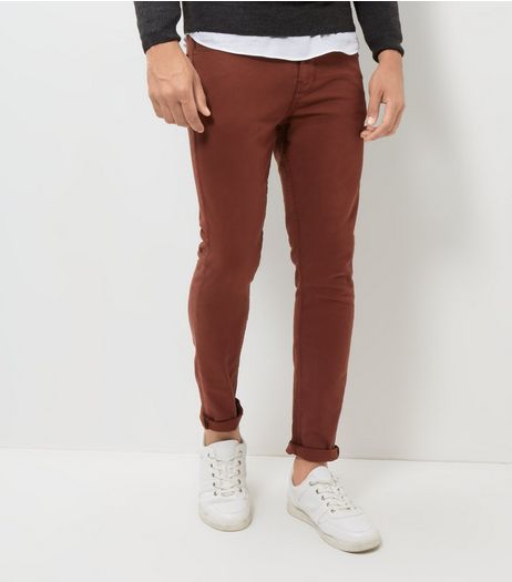 Dark Red Skinny Trousers  | New Look