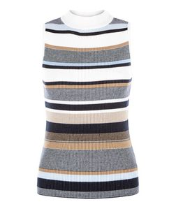 Blue Ribbed Stripe Funnel Neck Vest | New Look
