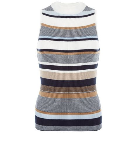 White Stripe Funnel Neck Sleeveless Top | New Look