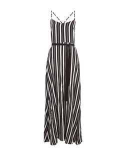Black Stripe Split Front Maxi Dress  | New Look