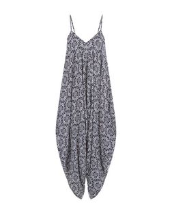 Blue Tile Print V Neck Jumpsuit  | New Look