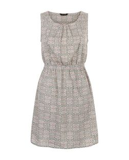 White Folk Print Shirred Waist Sleeveless Dress  | New Look