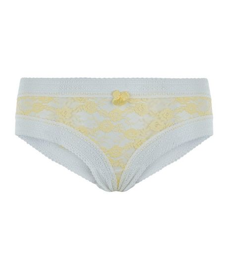Yellow Aztec Lace Trim Brazilian Briefs  | New Look