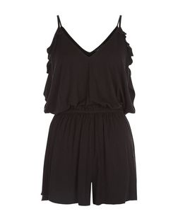 Black Ruffle Cold Shoulder Playsuit  | New Look