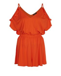 Bright Orange Ruffle Cold Shoulder Playsuit  | New Look