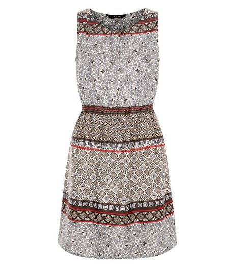 Red Abstract Print Shirred Waist Sleeveless Dress  | New Look