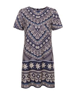 Blue Tile Print Tunic Dress  | New Look