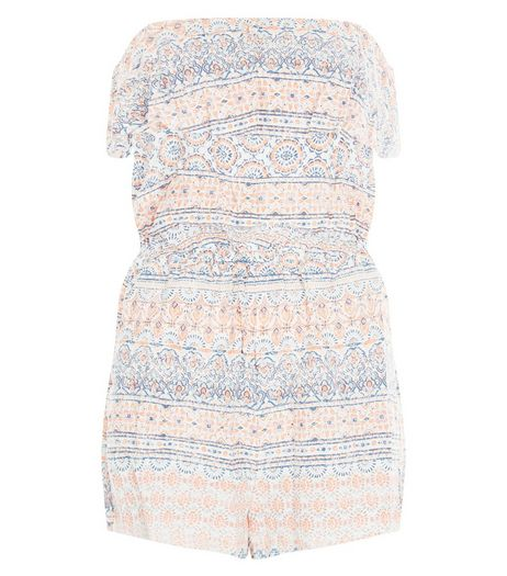 White Aztec Print Bandeau Playsuit  | New Look
