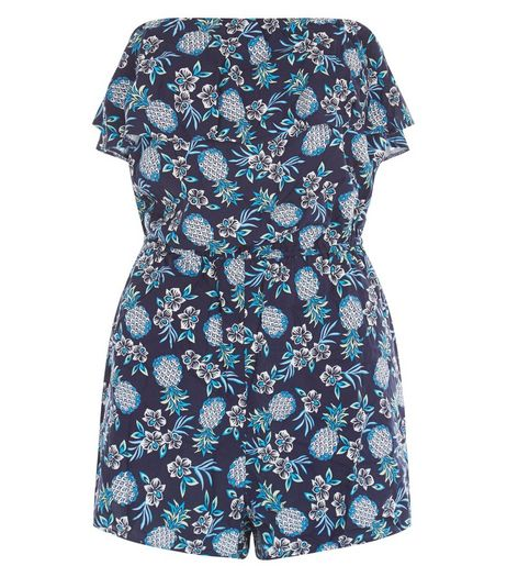 Blue Pineapple Print Bandeau Playsuit | New Look