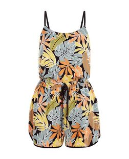 Black Leaf Print Strappy Playsuit  | New Look