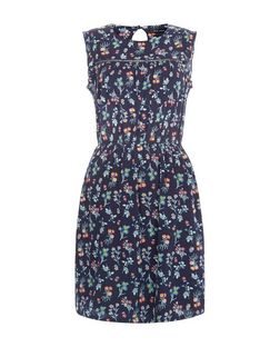 Blue Floral Print Crochet Trim Shirred Waist Dress  | New Look