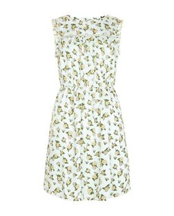 Green Floral Print Ladder Trim Shirred Waist Sleeveless Dress  | New Look
