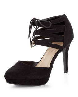 Wide Fit Black Suedette Lace Up Cut Out Heels  | New Look