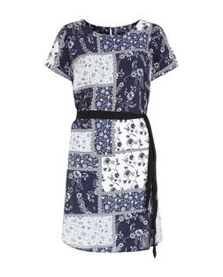 Blue Floral Patchwork Print Belted Tunic | New Look