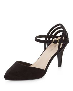 Wide Fit Black Suedette Caged Pointed Heels  | New Look