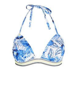 Blue Tropical Print Contrast Trim Bikini Top | New Look