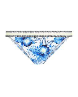 Blue Tropical Print Contrast Trim Bikini Bottoms | New Look