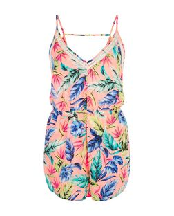 Pink Tropical Print Lace Trim Playsuit | New Look