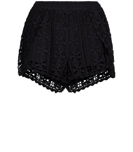 Black Crochet Wrap Shorts | New Look