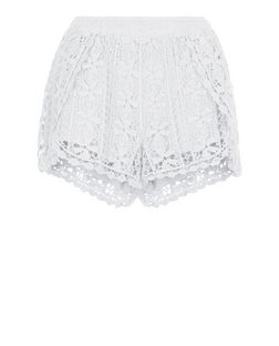 Cream Crochet Wrap Shorts | New Look