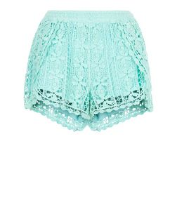 Mint Green Crochet Wrap Shorts | New Look