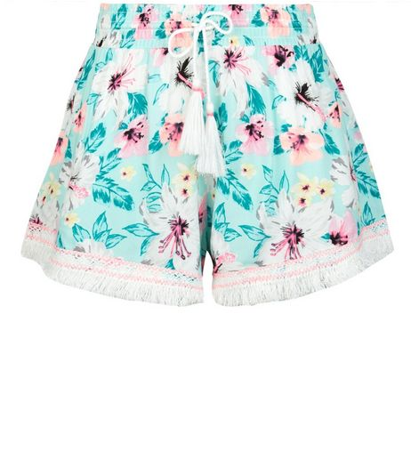 Mint Green Tropical Print Fringed Shorts | New Look