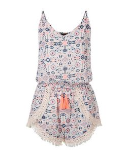 Pink Sheer Aztec Print Crochet Trim Playsuit | New Look