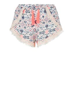 Multicoloured Aztec Print Crochet Trim Shorts | New Look
