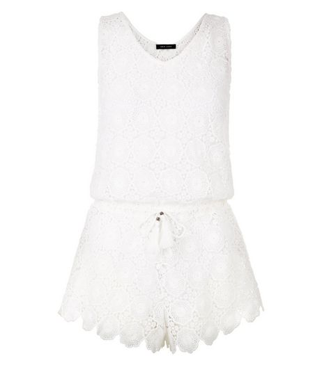 Cream Crochet Scallop Hem Playsuit | New Look