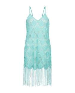 Blue Crochet Scallop Hem Fringed Cover Up | New Look